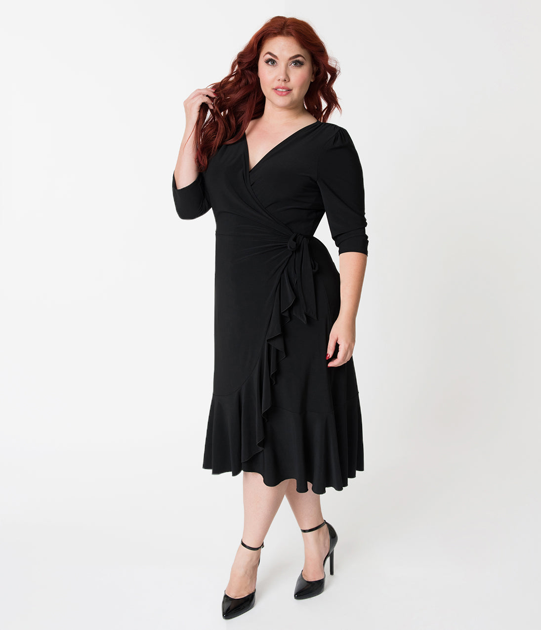 1950s Dresses, 50s Dresses | 1950s Style Dresses Plus Size Black Three-Quarter Sleeved Whimsy Wrap Dress $88.00 AT vintagedancer.com