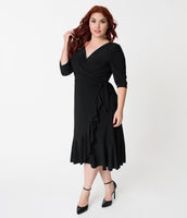 Plus Size Wrap Gathered Fitted 3/4 Sleeves Elasticized Waistline Dress