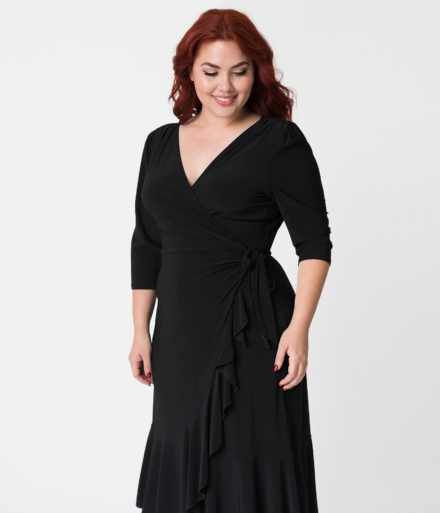 Plus Size Black Three-Quarter Sleeved Whimsy Wrap Dress