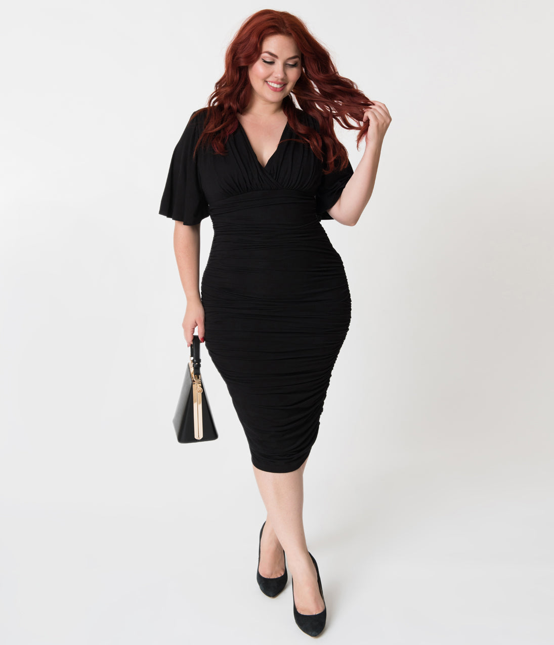 60s 70s Plus Size Dresses, Clothing, Costumes Plus Size Vintage Style Black Ruched Flutter Sleeve Rumor Wiggle Dress $108.00 AT vintagedancer.com