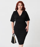 Plus Size Vintage Style Black Ruched Flutter Sleeve Rumor Wiggle Dress