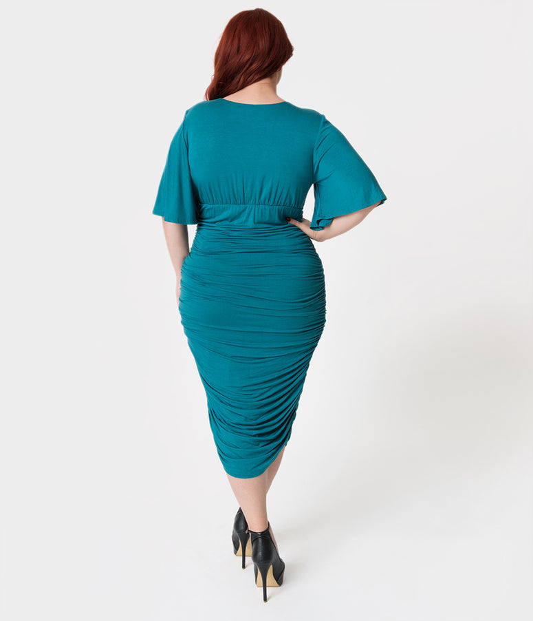 Plus Size Vintage Style Teal Ruched Flutter Sleeve Rumor Wiggle Dress