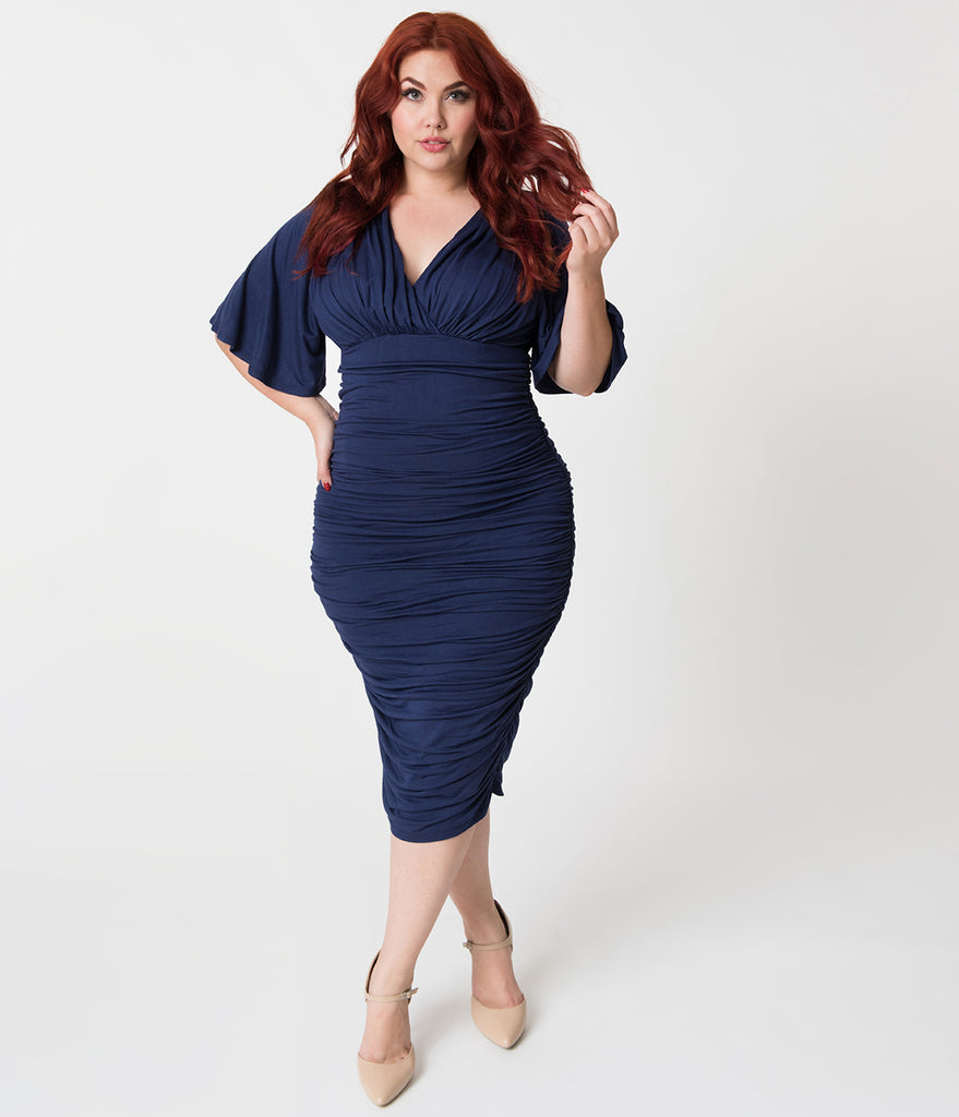 Plus Size Vintage Style Navy Blue Ruched Flutter Sleeve Rumor Wiggle Dress