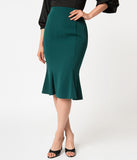 Micheline Pitt For Unique Vintage 1940s Style Green High Waist Sassafras Pencil Skirt
