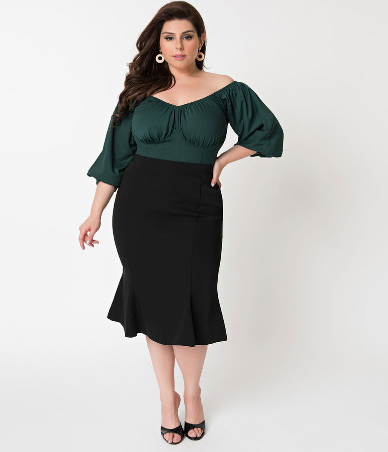 Micheline Pitt For Unique Vintage Plus Size 1940s Style Black High Waist Sassafras Pencil Skirt