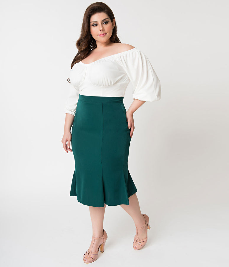 Micheline Pitt For Unique Vintage Plus Size 1940s Style Green High Waist Sassafras Pencil Skirt