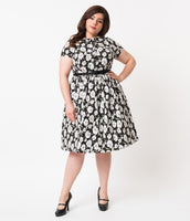 Plus Size A-line Cotton Floral Print Short Sleeves Sleeves Gathered Belted Pocketed Collared Shirt Dress
