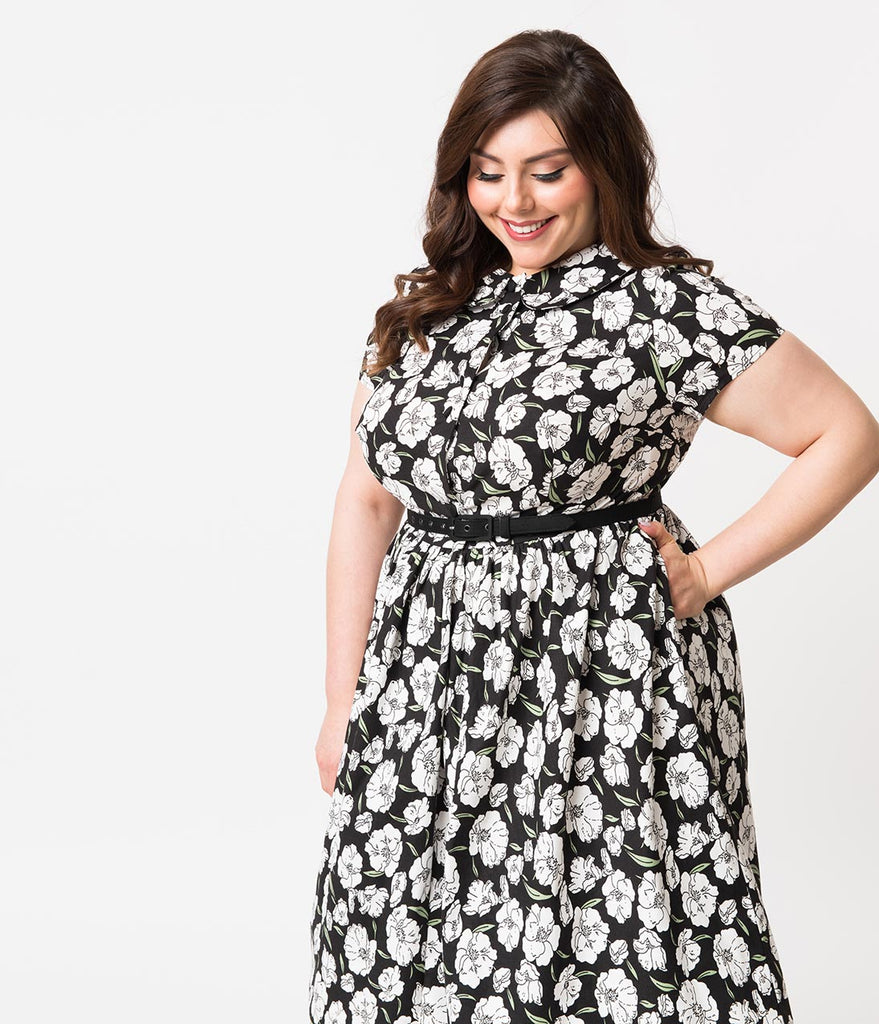 Unique Vintage Plus Size 1960s Style Black & White Floral Regina Shirtdress