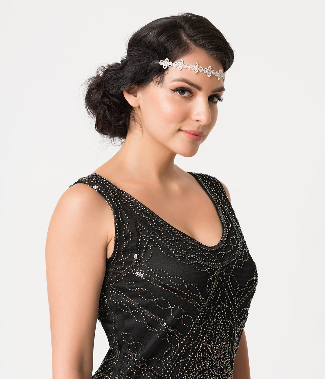 1920s Hairstyles History- Long Hair to Bobbed Hair Vintage Style Black Feather  Silver Crystal Clementine Flapper Headband $42.00 AT vintagedancer.com