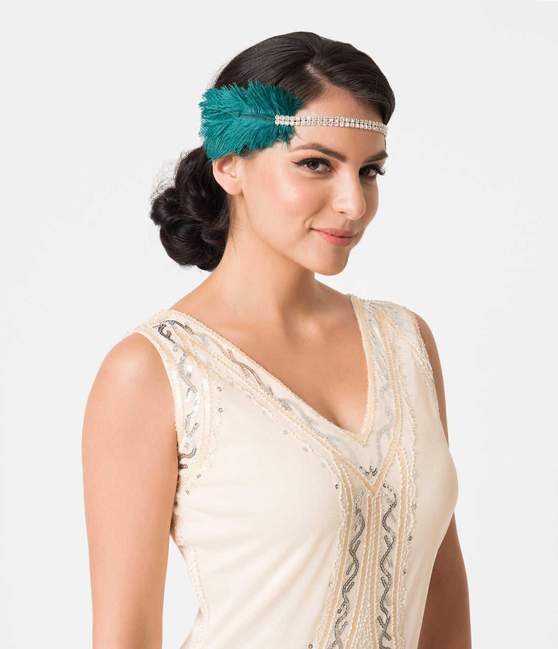 Vintage Hair Accessories: Combs, Headbands, Flowers, Scarf, Wigs Turquoise Feathers  Silver Crystal Ruby Flapper Headband $38.00 AT vintagedancer.com