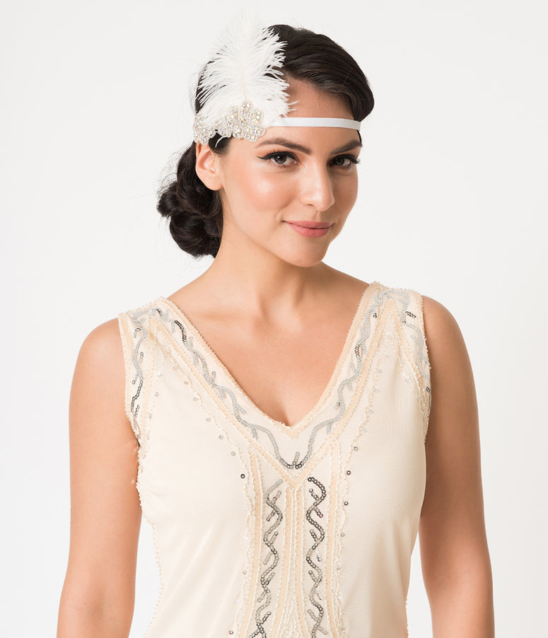 1920s Style White Feather & Iridescent Beaded Gigi Headband
