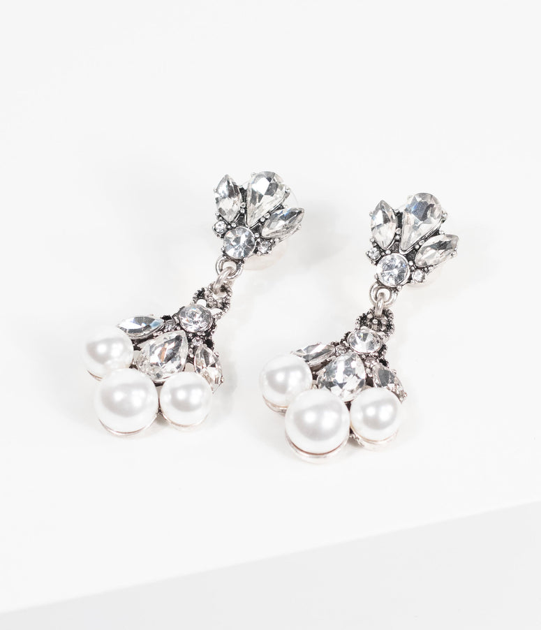 Vintage Style Silver Gemstone & Pearl Drop Earrings