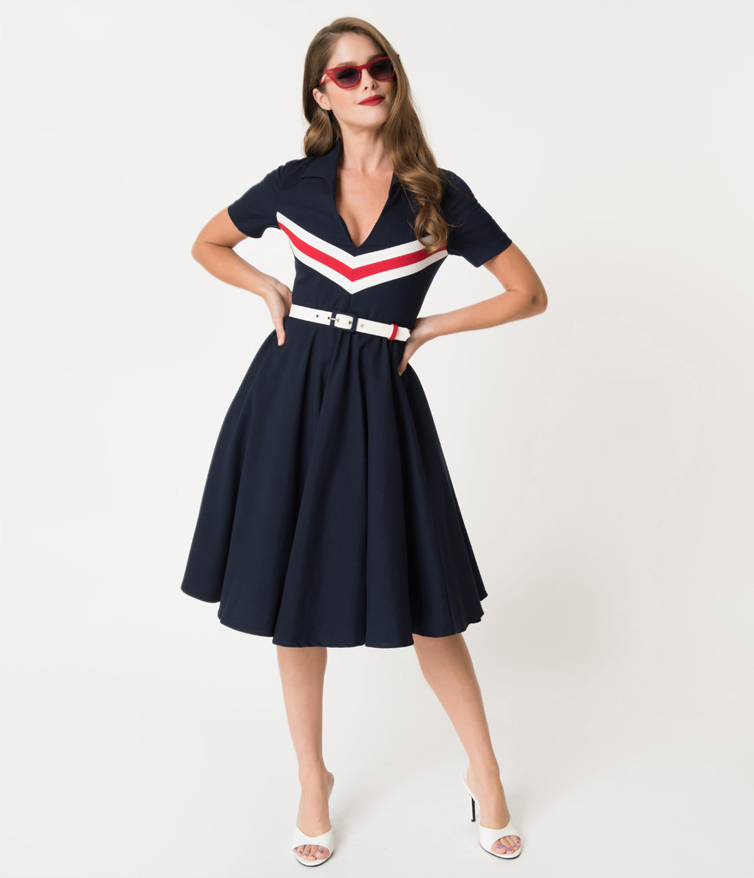 1960s Dresses | 60s Dresses Mod, Mini, Jakie O, Hippie Glamour Bunny Navy Blue  Retro Stripes Short Sleeved June Swing Dress $142.00 AT vintagedancer.com