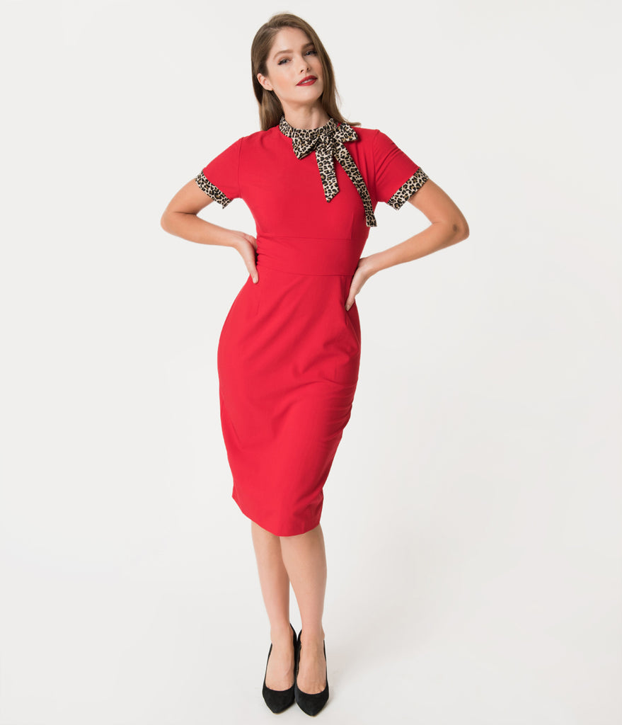 Glamour Bunny 1960s Style Red & Leopard Lucy Pencil Dress