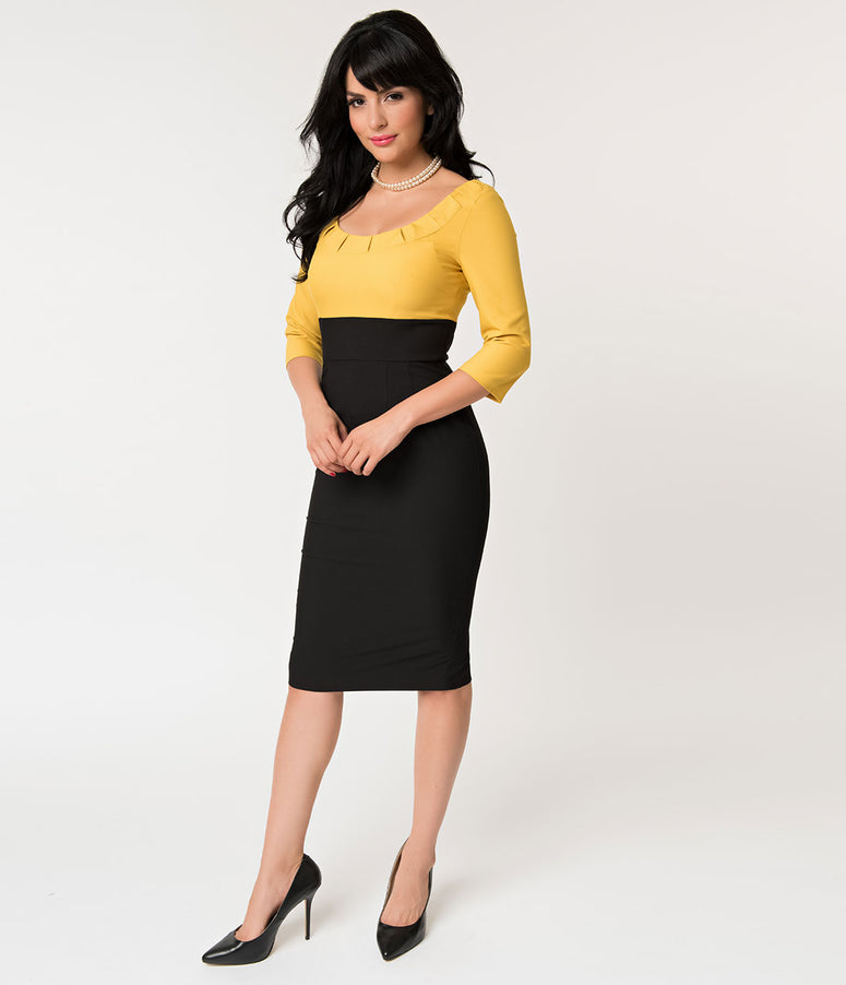 Glamour Bunny 1950s Style Yellow and Black Christine Pencil Dress
