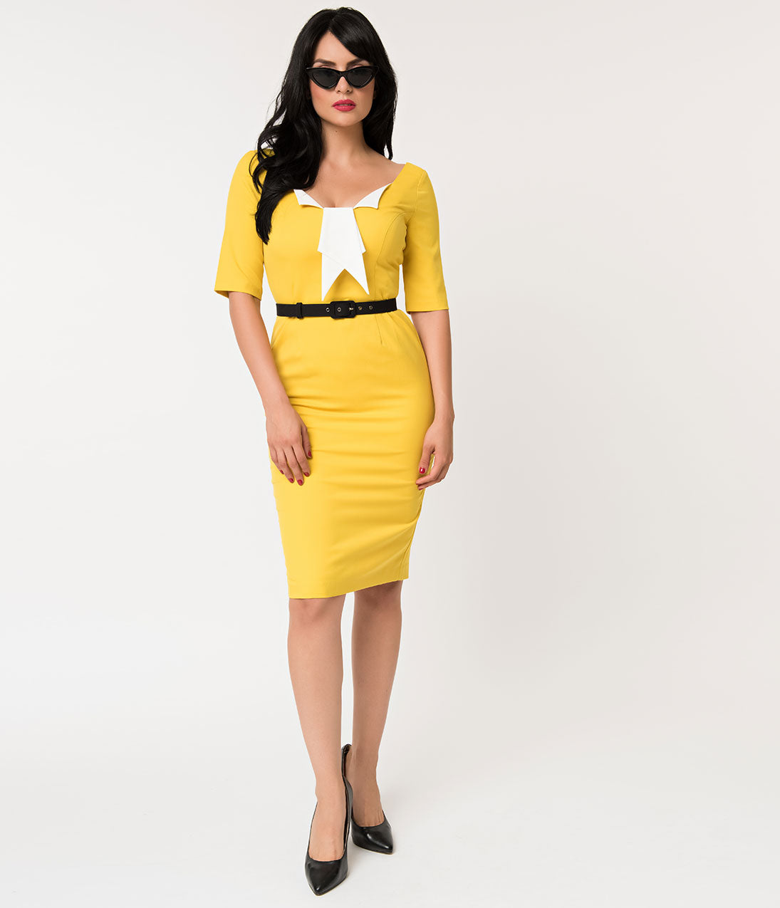 1960s Dresses | 60s Dresses Mod, Mini, Jakie O, Hippie Glamour Bunny Yellow Jacky Pencil Dress $124.00 AT vintagedancer.com