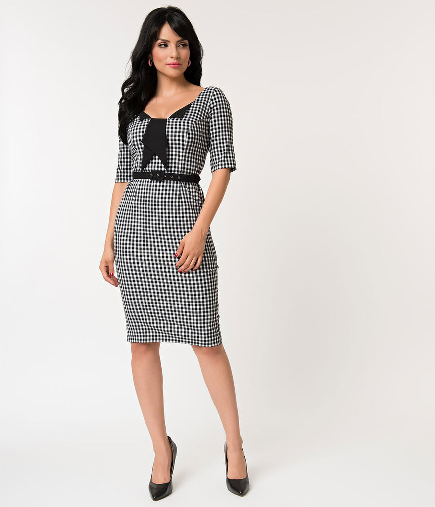 Glamour Bunny 1950s Style Black & White Gingham Jacky Pencil Dress
