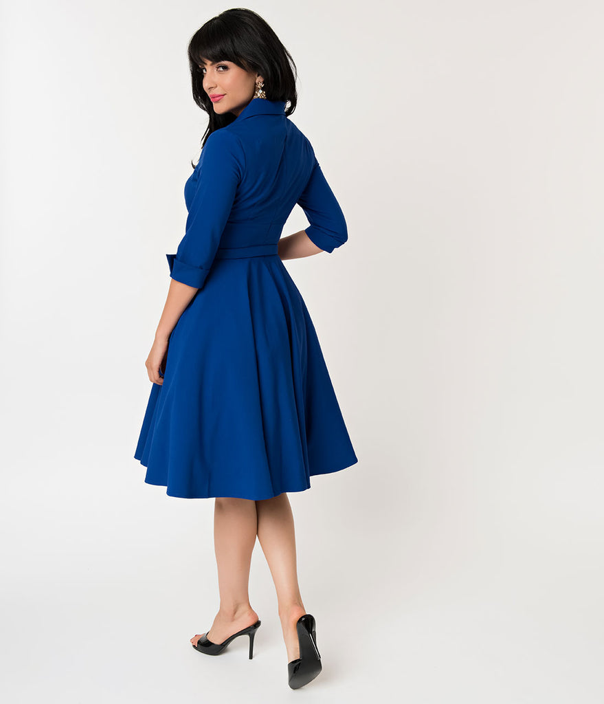 Glamour Bunny 1950s Style Royal Blue Sleeved Lorelei Swing Dress