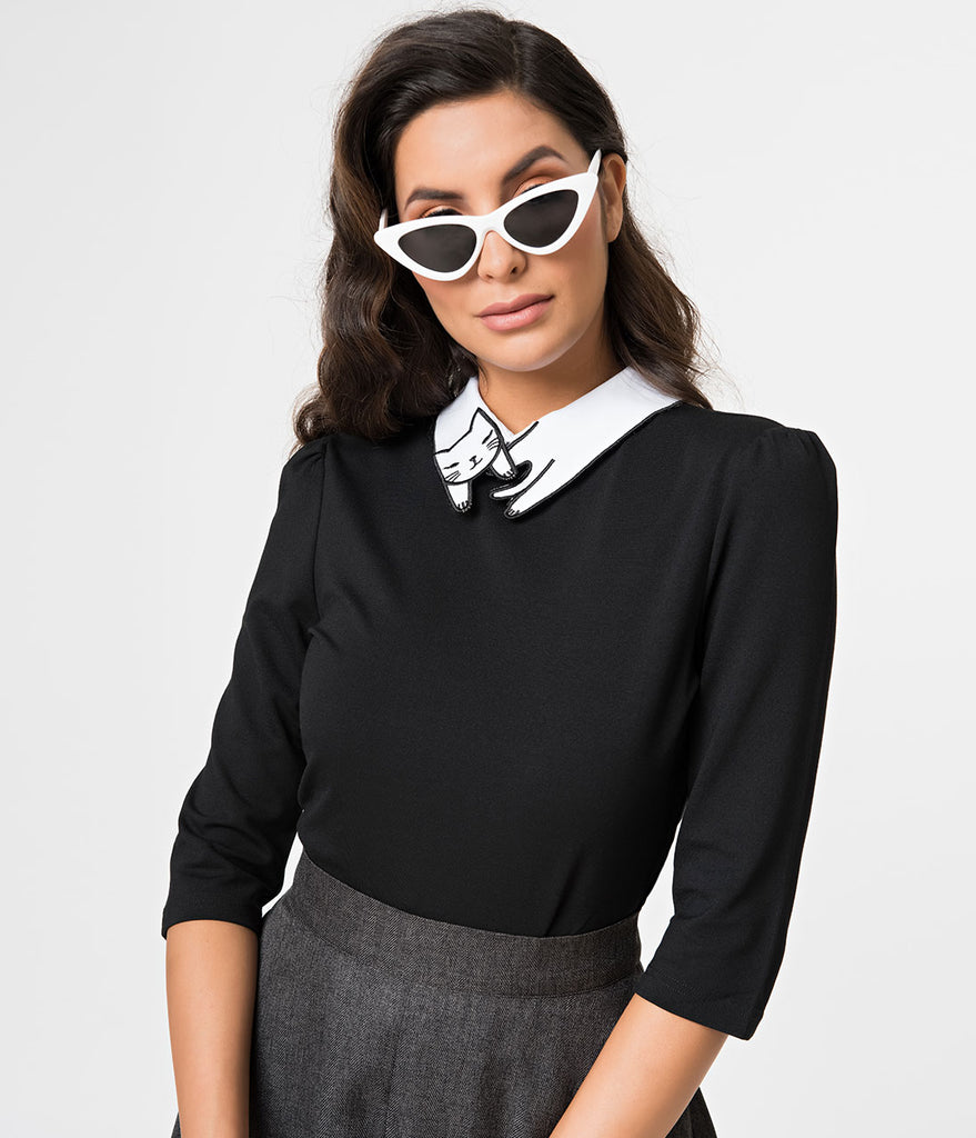 Black Stretch Sleeping Cat Collar Half Sleeve Top