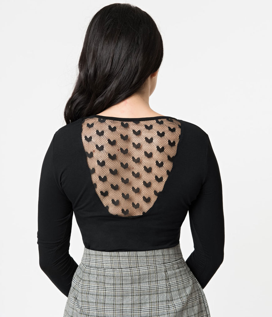 Black Stretch Heartcore Mesh Back Long Sleeve Top