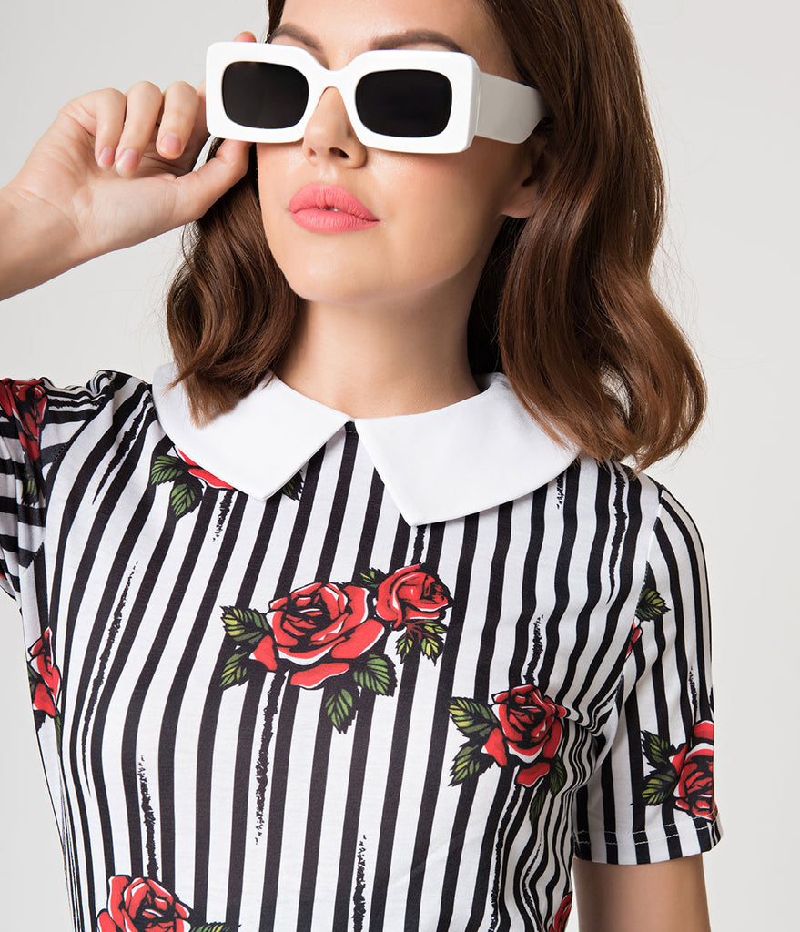 1960s Style Black & White Stripe Red Rose Knit Fit & Flare Dress