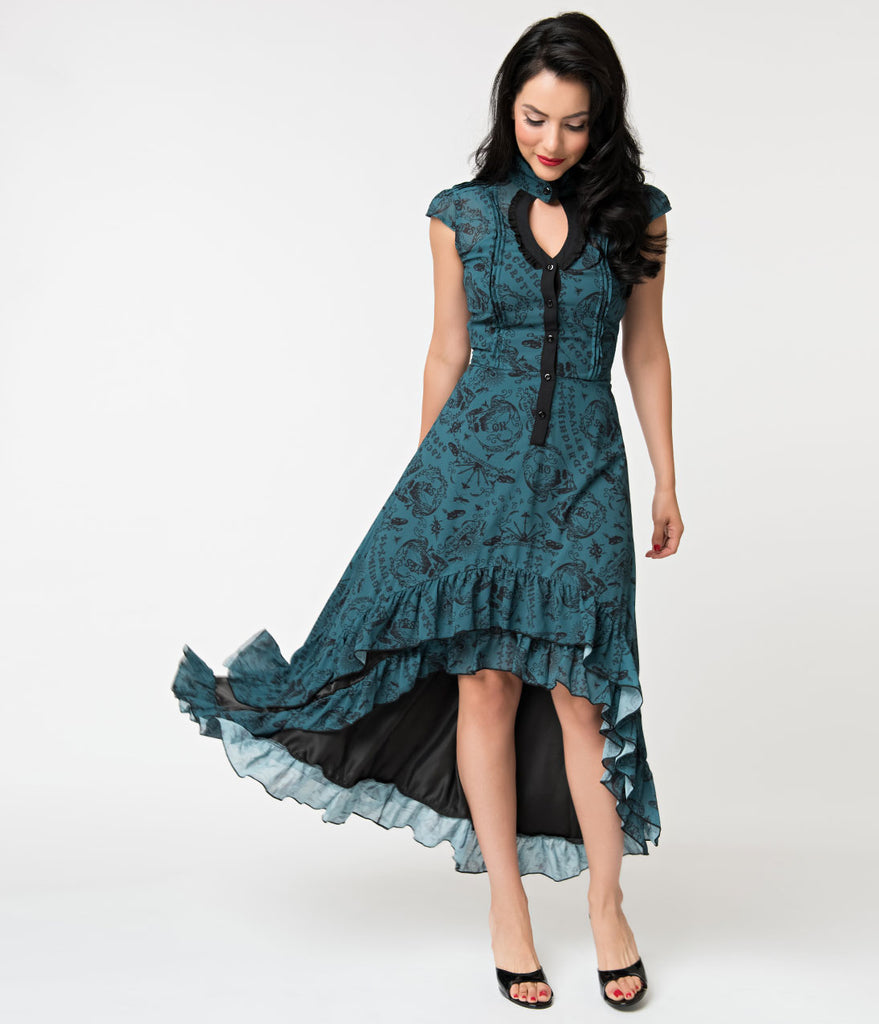 Dark Teal Chiffon Make Up Your Mind Victorian High Low Dress
