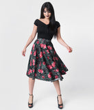 Vixen by Micheline Pitt Black Spider Web Rose Print Cotton Swing Skirt