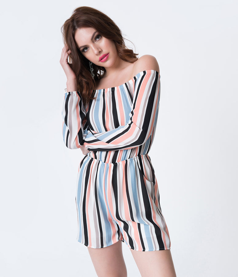 Multicolored Striped Off The Shoulder Long Sleeved Romper