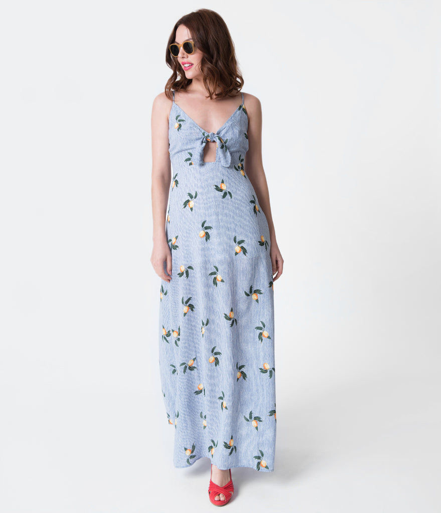 Retro Style Blue Striped & Yellow Lemon Print Maxi Dress