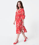 Retro Style Red & Pink Floral Print Half Sleeved Midi Dress