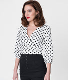 White & Black Polka Dot Three-Quarter Sleeve Crop Top