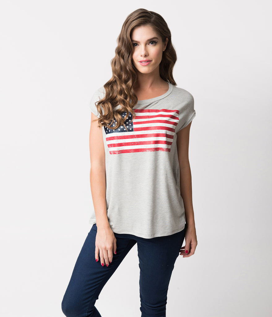Grey Knit & Distressed American Flag Cap Sleeve Tee