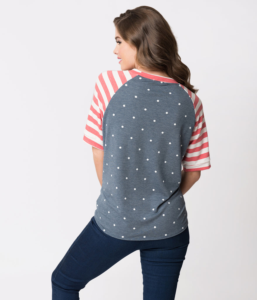 Retro Style Navy Polka Dot & Red Striped Raglan Sleeve Top