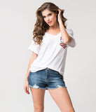 White & Sequin American Flag Pocket Relaxed Knit Tee