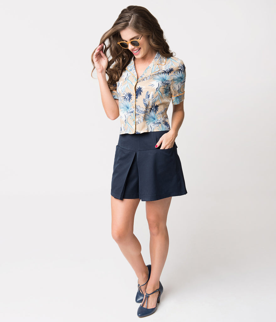 Beige & Blue Tropical Print Short Sleeve Button Up Blouse