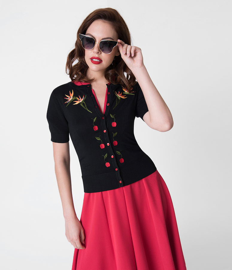 Voodoo Vixen Black Embroidered Bird of Paradise & Cherry Polly Cardigan