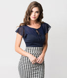 Voodoo Vixen Navy Blue Mesh & Chiffon Sam Sweetheart Top