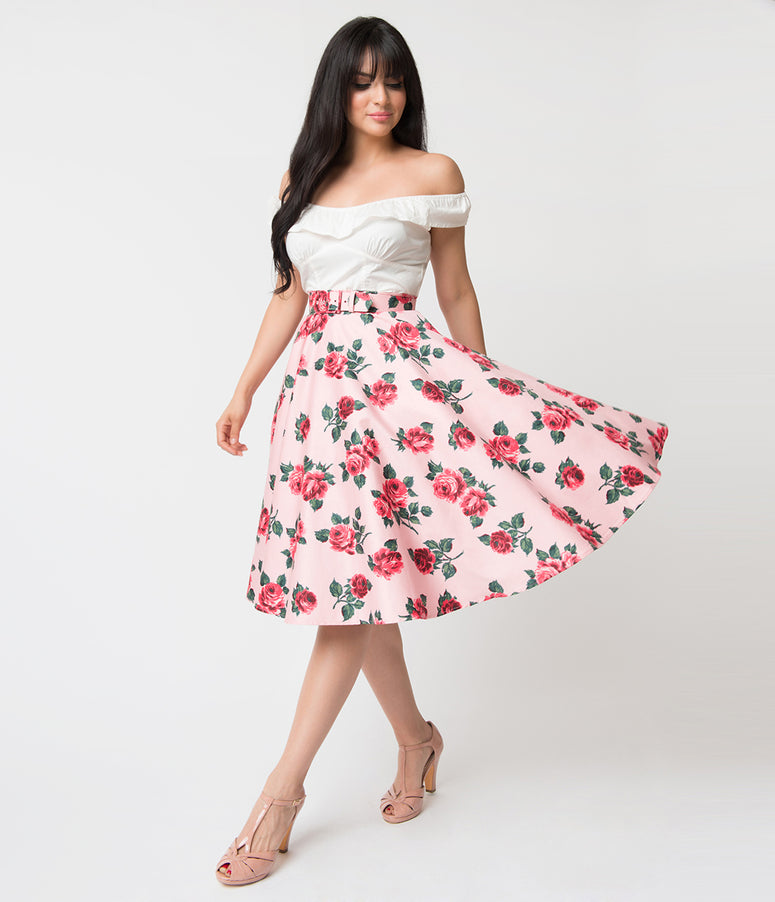 Vixen by Micheline Pitt Pink Vintage Rose Print Cotton Swing Skirt