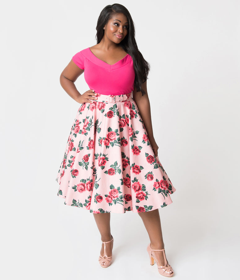 Vixen by Micheline Pitt Plus Size Pink Vintage Rose Print Cotton Swing Skirt