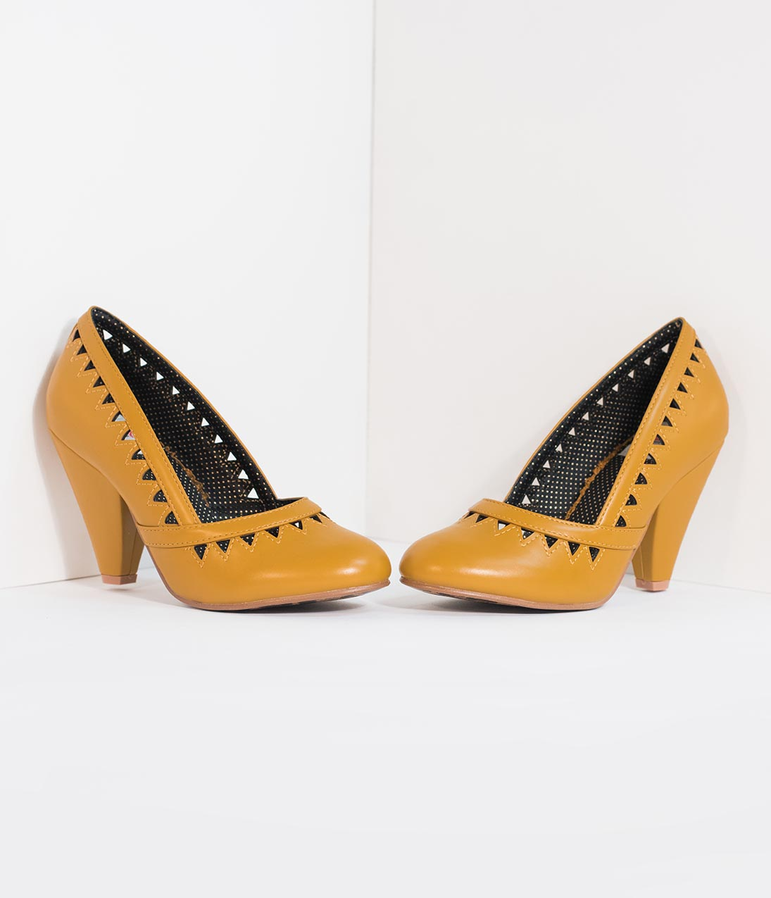 1950s Style Shoes | Heels, Flats, Saddle Shoes Bettie Page Mustard Yellow Leatherette Marjorie Cutout Heels $84.00 AT vintagedancer.com