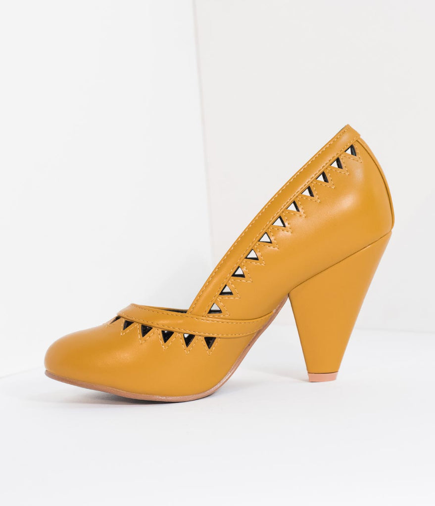 Bettie Page Mustard Yellow Leatherette Marjorie Cutout Heels