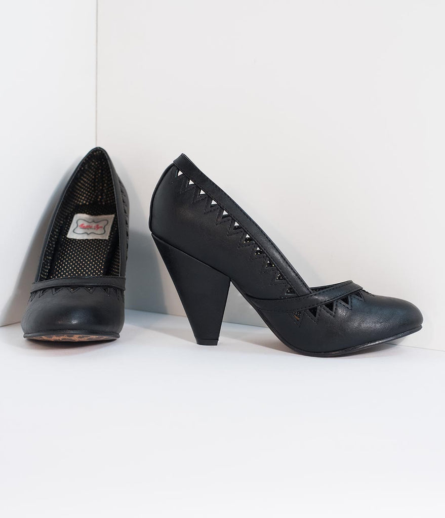Bettie Page Black Leatherette Marjorie Cutout Heels
