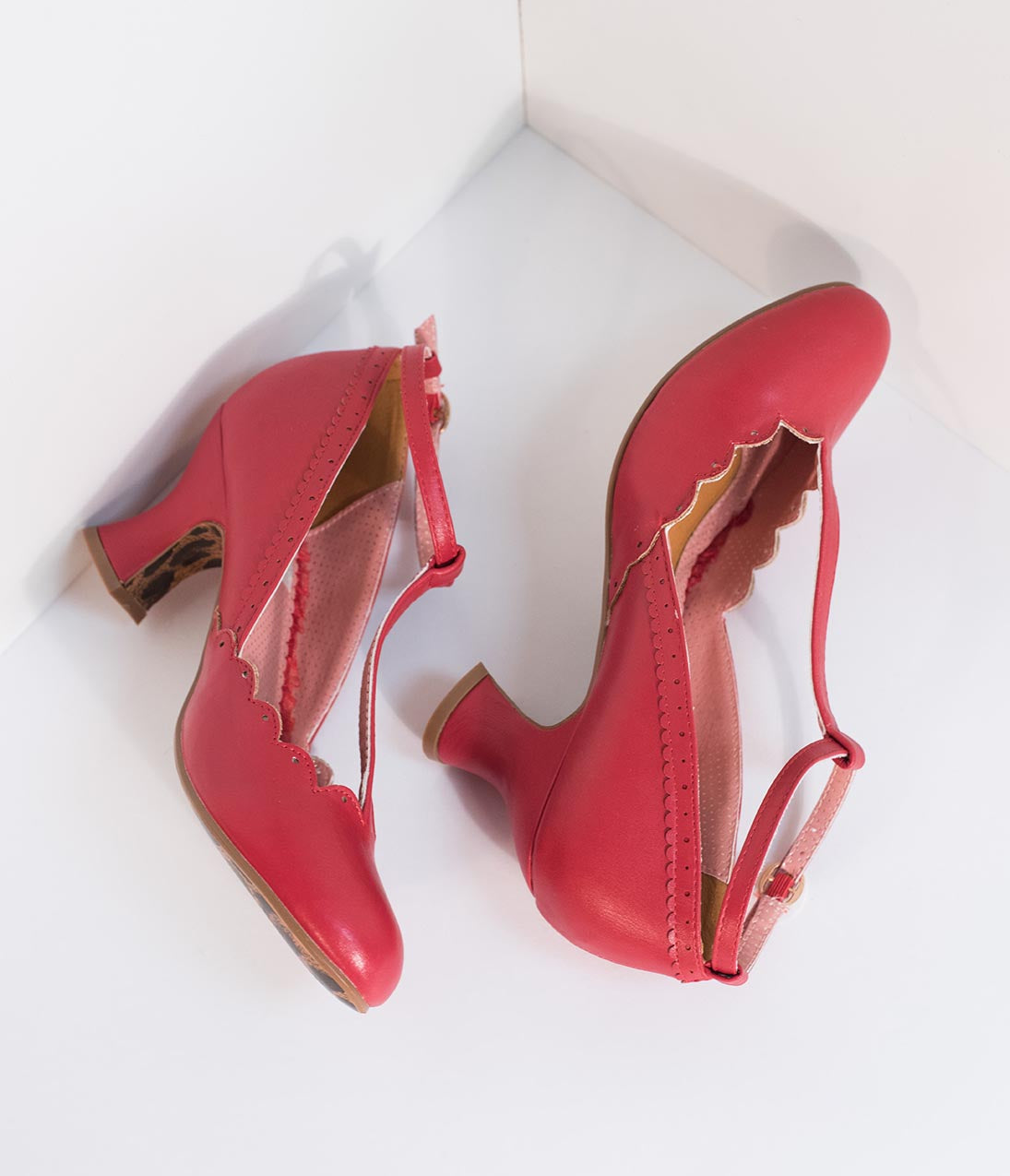 1940s Style Shoes, 40s Shoes Bettie Page 1940S Red Leatherette Penny Scalloped T-Strap Heels $78.00 AT vintagedancer.com