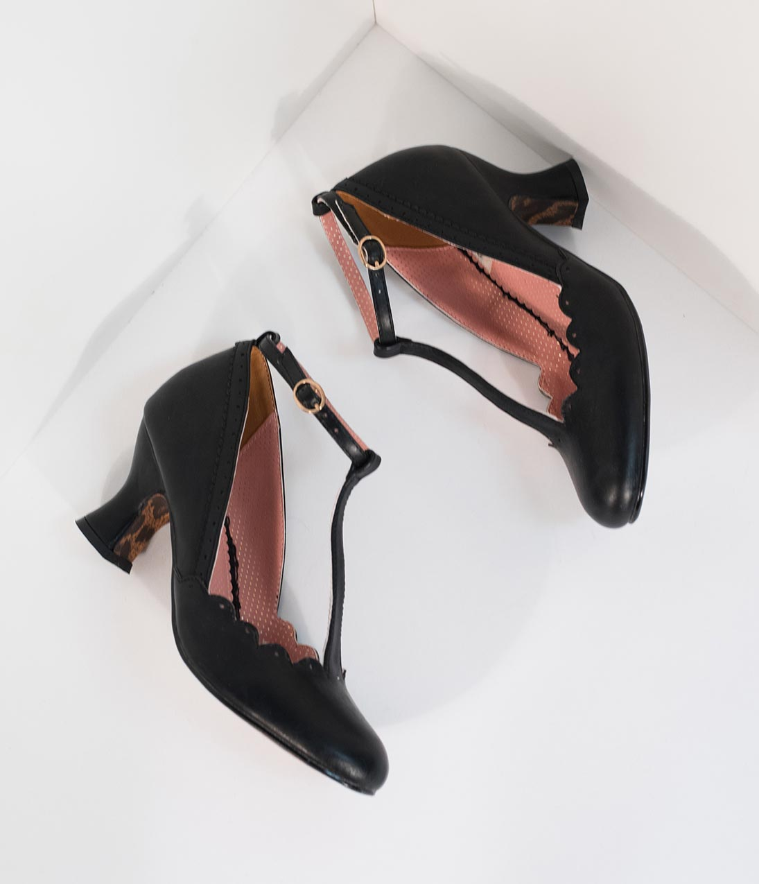 1940s Style Shoes, 40s Shoes Bettie Page 1940S Black Leatherette Penny Scalloped T-Strap Heels $78.00 AT vintagedancer.com