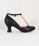 Bettie Page 1940s Black Leatherette Penny Scalloped T-Strap Heels