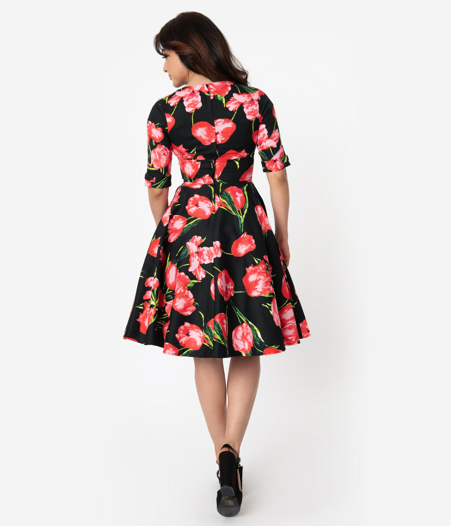 Unique Vintage 1950s Black & Red Tulips Delores Swing Dress with Sleeves