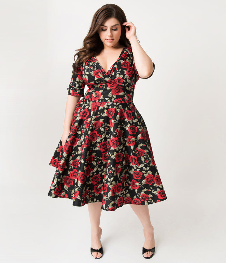 57fbc28e2116 Unique Vintage Plus Size 1950s Black   Red Roses Print Delores Swing Dress  with Sleeves