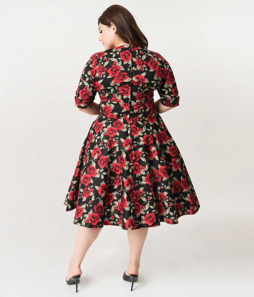 3aa28acb2ee ... Unique Vintage Plus Size 1950s Black   Red Roses Print Delores Swing  Dress with Sleeves ...