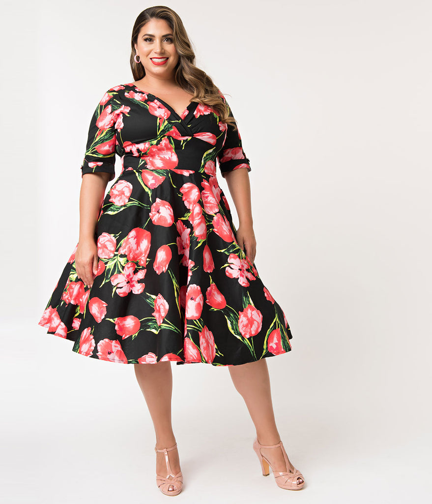 Unique Vintage Plus Size 1950s Black & Red Tulips Delores Swing Dress with Sleeves