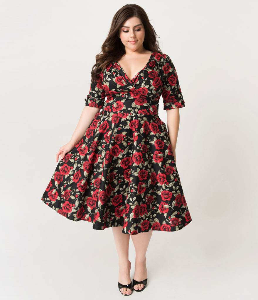 Unique Vintage Plus Size 1950s Black & Red Roses Print Delores Swing Dress with Sleeves